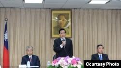 台湾总统马英九4月29日针对九二共识在陆委会讲话。 (台湾行政院提供)