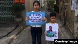 Con của blogger Mẹ Nấm sau khi biết tin mẹ đã được chuyển đi Thanh Hóa.