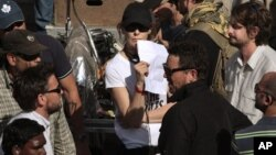 "Movie director Kathryn Bigelow on the set of her film ""Zero Dark Thirty"""