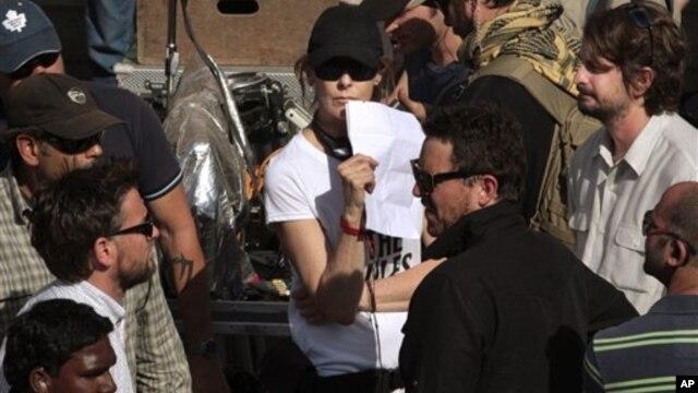 "Movie director Kathryn Bigelow on the set of her film ""Zero Dark Thirty"""