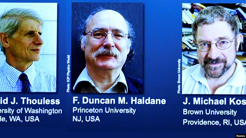 ၂၀၁၆ ခုႏွစ္အတြက္ ရူပေဗဒ ဆိုင္ရာ ႏိုဘယ္လ္ဆုကို အေမရိကန္ ရူပေဗဒပညာရွင္ ၃ ဦးရရွိ