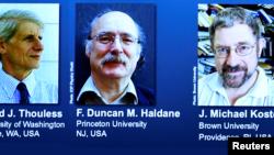 Pri Nobel Fizik 2016 (de goch a dwat): David J. Thouless, F. Duncan Haldane, J. Michael Kosterlitz.