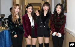 South Korean girl band Red Velvet is seen after its performance in Pyongyang, North Korea, April 1, 2018.