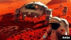 Уметничка визија на животот на астронаутите на Марс. (Извор: НАСА)
