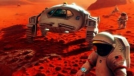 Artist's rendition of astronauts on Mars. (NASA)