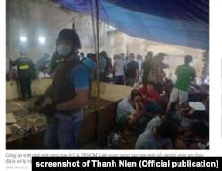 Cảnh sát bắt một sòng bạc ở Tp.HCM, ảnh trên báo Thanh Niên, 16/12/2020