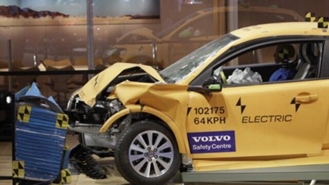 A Volvo in a crash test at the North American International Auto Show in Detroit, Michigan, in January. A Volvo engineer, Nils Bohlin, invented the modern shoulder and lap seatbelt.