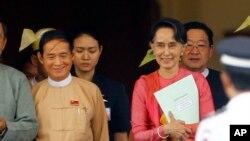 緬甸總統溫敏和緬甸領導人昂山素姬