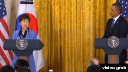 樸瑾惠總統2013年5月訪美期間與奧巴馬總統選舉聯合記者會