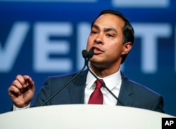 FILE - Julian Castro speaks at the start of the general session at the Texas Democratic Convention, June 22, 2018, in Fort Worth, Texas.