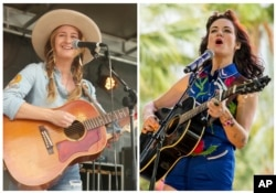 In this combination photo, Margo Price, left, performs at the South by Southwest Music Festival, March 18, 2017, in Austin, Texas and Nikki Lane performs at the 2015 Stagecoach Festival, April 25, 2015, in Indio, California.
