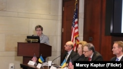 Марси Каптур выступает на встрече Украинского кокуса Палаты представителей с вице-премьером Украины Иванной Климпуш-Цинцадзе, 13 сентября 2017 года