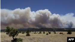 Khói bốc lên từ đám cháy ở Arizona, nơi nhân viên cứu hỏa đang cố gắng dẹp quang cây cối quanh các tòa nhà để giảm nguy cơ lửa lan rộng