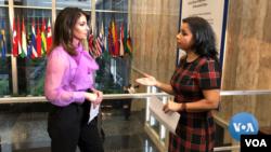 State Department Spokesperson Morgan Ortagus talks to VOA's Navbahor Imamova, Washington, February 6, 2020