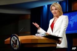 Juru Bicara Departemen Luar Negeri AS, Heather Nauert di Washington, D.C., 9 Agustus 2017. (Foto: dok).