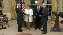 Трамп, вітаючи Тіллерсона з призначенням: новий держсекретар вже користується повагою у всьому світі. Відео