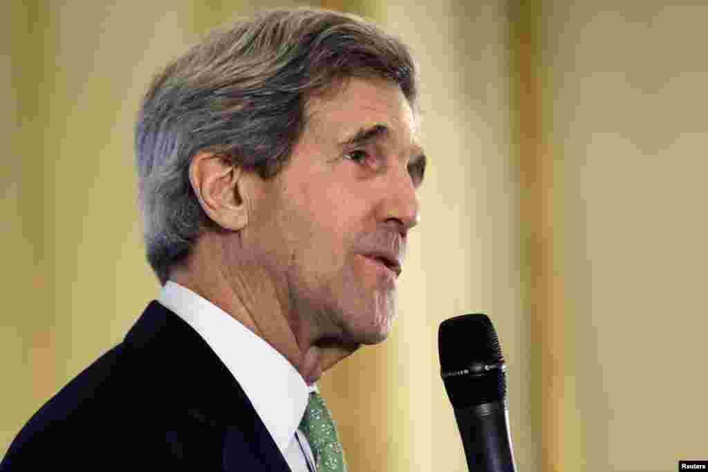 U.S. Secretary of State John Kerry speaks to members of the U.S. Embassy in Paris February 27, 2013