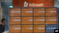 A screen shows the prices of bitcoin at a virtual currency exchange office in Seoul, South Korea, Wednesday, Dec. 13, 2017. (AP Photo/Ahn Young-joon)