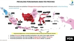 Prevalensi Perkawinan anak per provinsi yang menempatkan Sulawesi Barat sebagai provinsi dengan persentase perkawinan usia anak tertinggi berdasarkan Susenas, 2018. Foto : Tangkapan Layar
