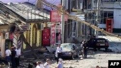 Міліцейські працюють на місці вибуху у Махачкалі
