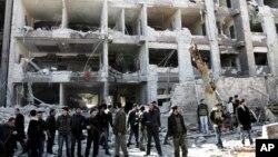 지난 3월 시리아 다마스쿠스에서 자바트 알 누스라가 자신들의 소행이라고 주장한 폭탄테러 현장. (자료사진)