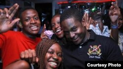 Crew and friends mug the camera at Celebrations, a club where Moonlight Café produces RSVP, smaller entertainment venue featuring new artists. (Courtesy Moonlight Cafe)