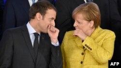 Tổng thống Pháp Macron và Thủ tướng Đức Merkel tại một hội nghị của EU mới đây ở Brussels.
