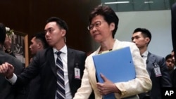 香港特首林鄭月娥抵達立法會。 (2019年10月17日)