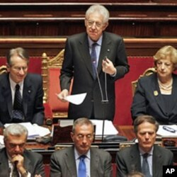 Italian Prime Minister Mario Monti reads his speech during a vote of confidence at the Senate in Rome, November 17, 2011