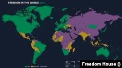 Підготовлена Freedom House мапа ілюструє рівень свободи у світі