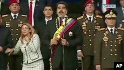 Ông Maduro phát biểu lúc thiết bị không người lái nổ tung hôm 4/8.