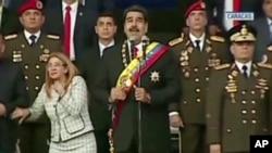تصویر تلویزیونی از صحنه حمله به نیکلاس مادورو