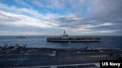 Theodore Roosevelt Carrier Strike Group và Nimitz Carrier Strike Group tại Biển Đông hôm 9 tháng Hai, 2021.