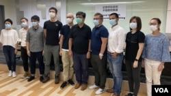 香港8大新闻工会代表联合反对警方修改警察通例。 (美国之音/汤惠芸)