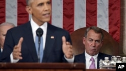 Speaker of the House John Boehner reacts as President Barack Obama delivers his State of the Union address to a joint session of Congress on Capitol Hill on Tuesday, Jan. 20, 2015.