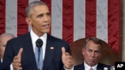 عکس آرشیوی از سخنرانی باراک اوباما رئیس جمهوری ایالات متحده در نشست مشترک کنگره - دی ماه ۱۳۹۳