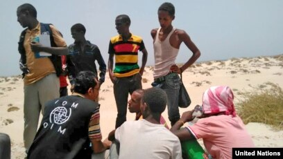UN Migration Agency staff assist Somali, Ethiopian migrants who were forced into the sea by smugglers.