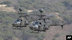 25일 경기도 포천시 로드리게스 훈련장에서 실시된 미한연합 '독수리 연습' 실사격 훈련에 미군의 카이오와 워리어 헬기가 참가했다.