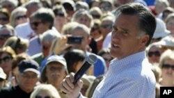 美國共和黨總統參選人前麻薩諸塞州州長羅姆尼星期一在佛羅裡達州競選