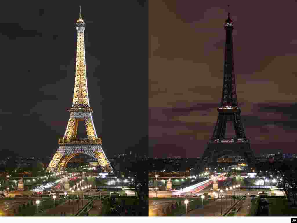 This combination photo shows the Eiffel Tower with its usual lighting (L) and after the lighting was switched off (R) in celebration of Earth Hour in Paris, France, March 28, 2015.