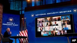 民主黨當選總統拜登12月28日在一視像會議上。