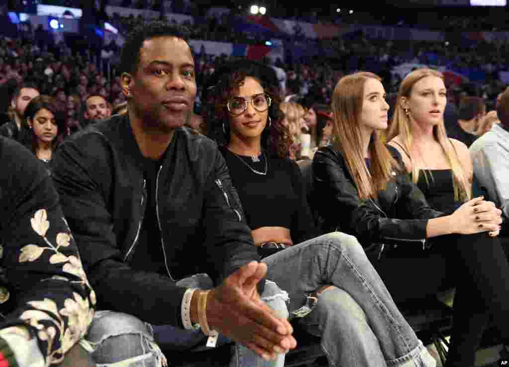 Le comédien Chris Rock avant le début du All-Star game de la NBA, le 18 février 2018, à Los Angeles.