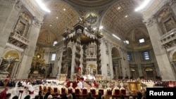 Pope Francis leads mass on New Year's Day, Saint Peter's Basilica, the Vatican, Jan. 1, 2016.