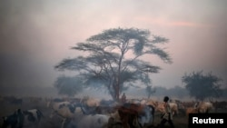 FILE - Smoke rises from burning dung as Dinka tribesmen guard their cattle in Abyei, Africa, Oct. 30, 2013. The U.N. Security Council voted to extend the mandate for peacekeepers in the disputed oil-rich area between South Sudan and Sudan.