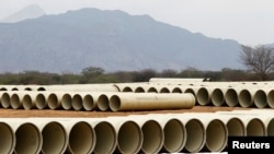 Pipeline stock is seen during the construction of the Olmos Irrigation Project in Peru's northwestern region of Lambayeque, March 15, 2013.