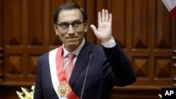 El nuevo presidente del Perú, Martín Vizcarra, el día de su juramentación en el Congreso Nacional. Marzo 23, 2018.