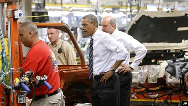 President Barack Obama tours Chrysler Group's Toledo Supplier Park in Toledo, Ohio, June 3, 2011