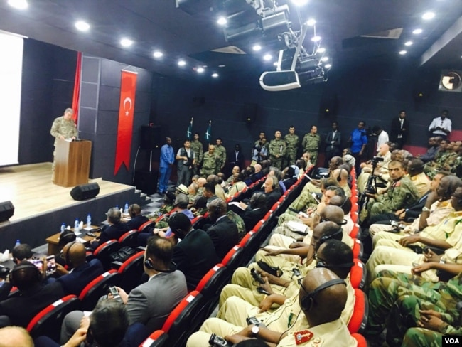 Turkish military Chief , General Hulusi Akar, in Uniform delivers a speech to an audience of Somali leaders, top military officials from Somalia National Army, Turkish Army, diplomats, and Somali military Cadets at a newly inaugurated Turkey's largest for