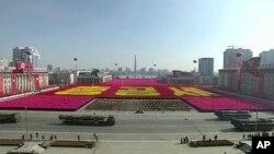 Parade militer di Pyongyang, Korea Utara, Kamis, 8 Februari 2018.(KRT via AP Video).