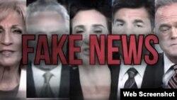 تصویری از آگهی کارزار دونالد ترامپ با عبارت «اخبار جعلی» که در آن تصاویر مجریان شبکه سی ان و چند شبکه دیگر نشان داده شده است.